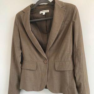 Tan with white pinstripe blazer